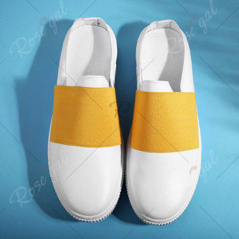 Unique Faux Leather Elastic Band Casual Shoes - 43 YELLOW Mobile