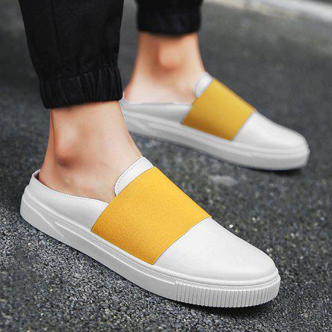Faux Leather Elastic Band Casual Shoes - Yellow - 40