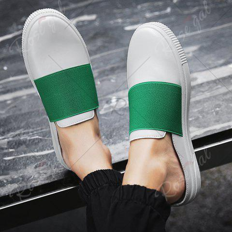 Chic Faux Leather Elastic Band Casual Shoes - 43 GREEN Mobile