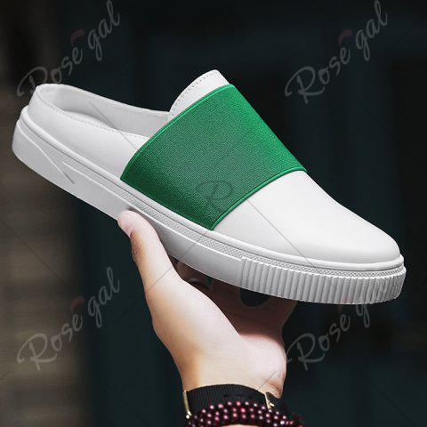 Outfits Faux Leather Elastic Band Casual Shoes - 43 GREEN Mobile