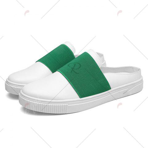 New Faux Leather Elastic Band Casual Shoes - 43 GREEN Mobile