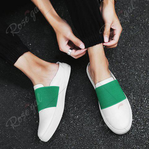 Unique Faux Leather Elastic Band Casual Shoes - 43 GREEN Mobile