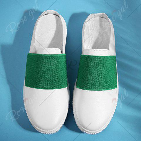 Discount Faux Leather Elastic Band Casual Shoes - 43 GREEN Mobile