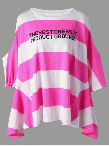 Color Block Graphic Striped Open Shoulder Tee - Fluorescent Pink - 2xl