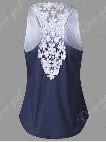 Outfits Lace Insert Ombre Printed Tank Top - XL PURPLISH BLUE Mobile