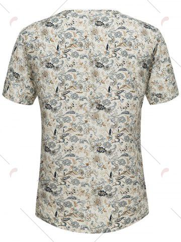 Best Notch Neck Tiny Floral Print Tee - 3XL OFF-WHITE Mobile