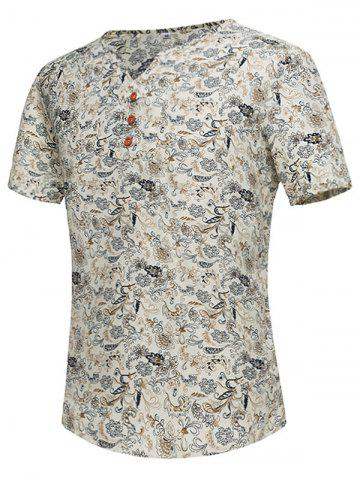 Hot Notch Neck Tiny Floral Print Tee - 3XL OFF-WHITE Mobile