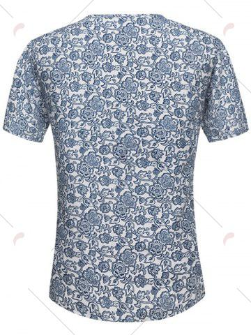 Store Notch Neck Floral Print Tee - L FLORAL Mobile