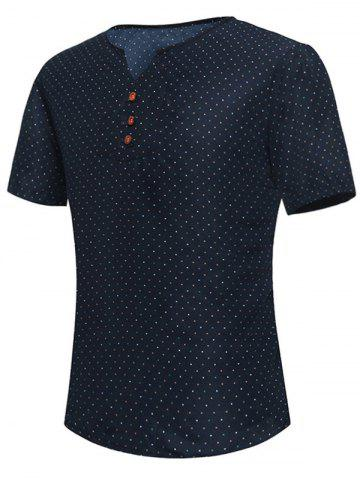 Buy Polka Dot Notch Neck Tee PURPLISH BLUE L