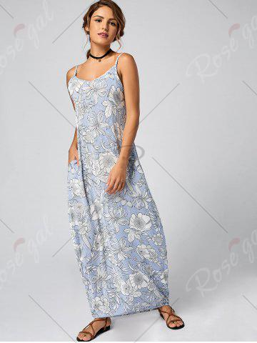 Store Striped Floral Maxi Slip Dress for Summer - XL LIGHT BLUE Mobile