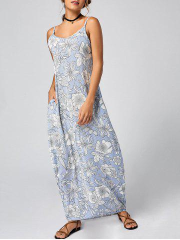 Affordable Spaghetti Strap Long Floral Dress for Summer - XL LIGHT BLUE Mobile
