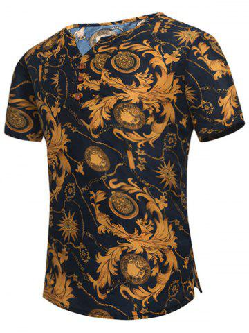 Trendy Retro Leaves Printed Notch Neck Tee COLORMIX XL