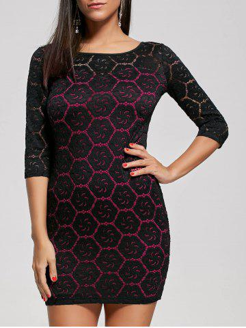 Unique Two Tone Floral Tight Dress - L ROSE RED Mobile