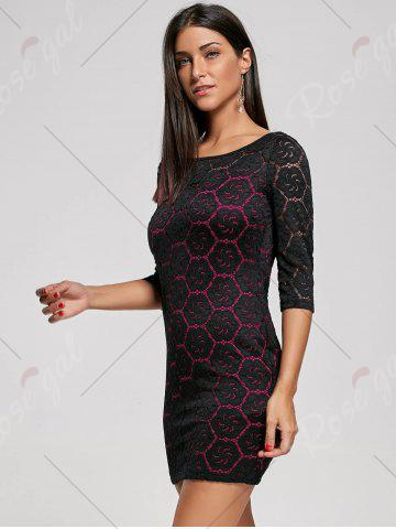Discount Two Tone Floral Tight Dress - L ROSE RED Mobile