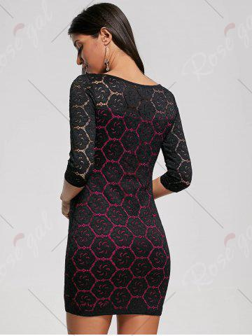 Store Two Tone Floral Tight Dress - XL ROSE RED Mobile