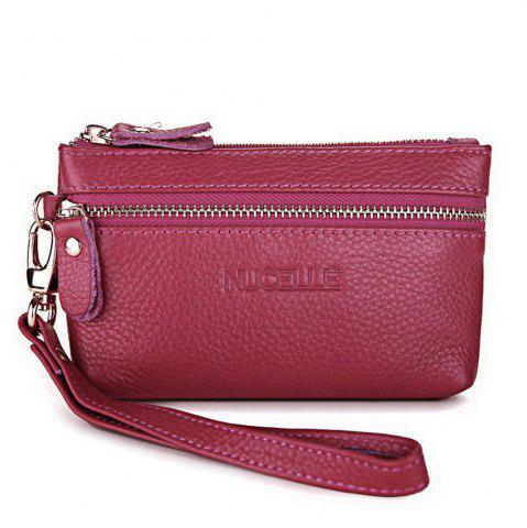 Affordable Zippers Faux Leather Wristlet ROSE RED
