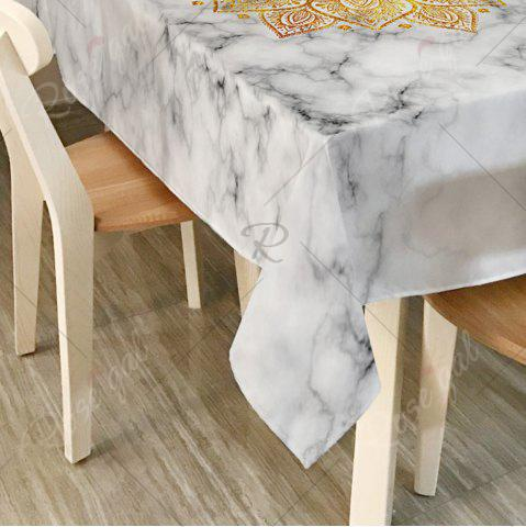 Sale Mandala Marble Print Home Decor Table Cloth - W54 INCH * L54 INCH WHITE Mobile