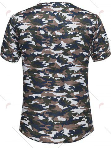 Shop Button Embellished Notch Neck Camo Tee - 5XL BROWN Mobile