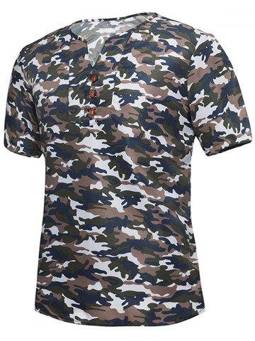 Button Embellished Notch Neck Camo Tee Brun 4XL