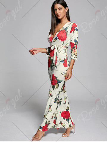 Cheap Plunge Floral Fitted Maxi Dress - S OFF-WHITE Mobile
