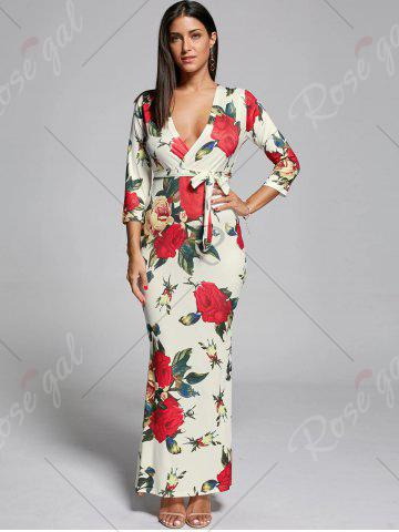 Fashion Plunge Floral Fitted Maxi Dress - S OFF-WHITE Mobile
