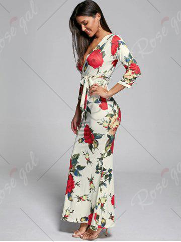 Outfit Plunge Floral Fitted Maxi Dress - S OFF-WHITE Mobile