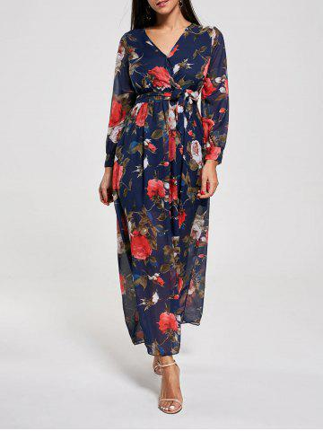 Bohemian Floral Print Chiffon Maxi Dress - Deep Blue - M