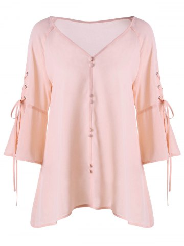 Buttoned V Neck Lace Up Blouse - Pink - M