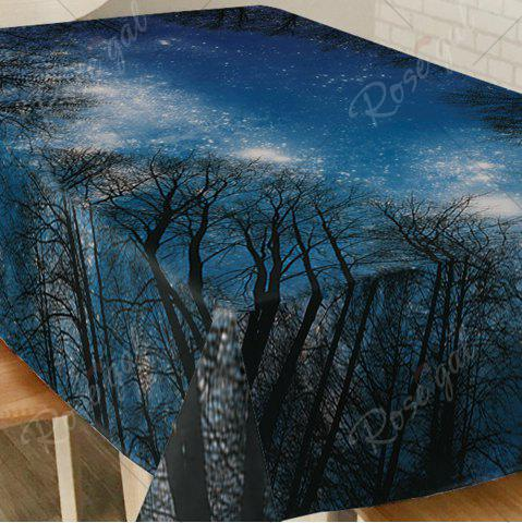 Fashion Starry Night Tree Print Fabric Dining Table Cloth - W54 INCH * L72 INCH DEEP BLUE Mobile