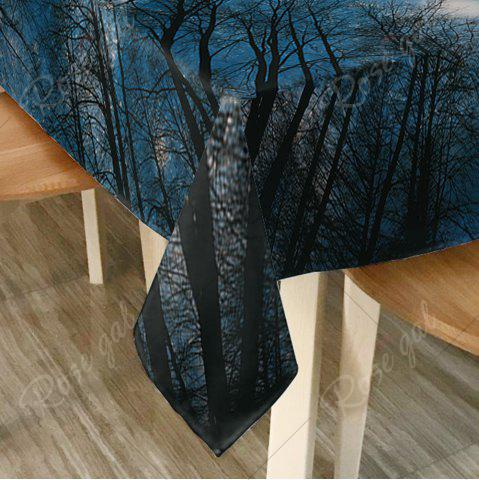 Fashion Starry Night Tree Print Fabric Dining Table Cloth - W60 INCH * L84 INCH DEEP BLUE Mobile