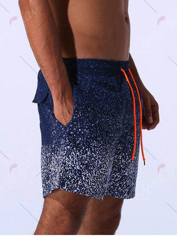 Trendy Splatter Paint Print Drawstring Applique Board Shorts - 2XL BLUE Mobile