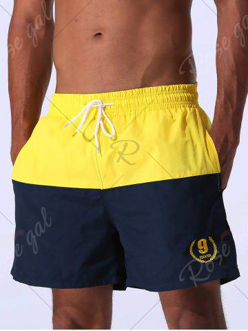 Shops Color Block Panel Drawstring Embroidered Board Shorts - L YELLOW Mobile