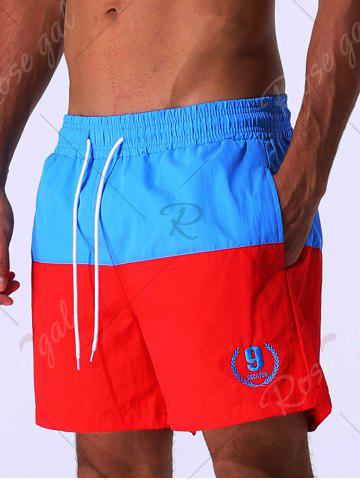 Unique Color Block Panel Drawstring Embroidered Board Shorts - 2XL BLUE Mobile