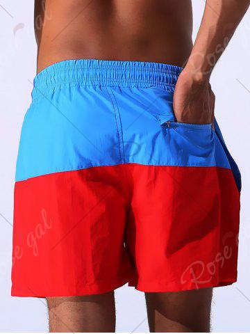 Best Color Block Panel Drawstring Embroidered Board Shorts - 2XL BLUE Mobile