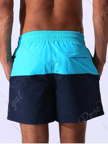 Affordable Color Block Panel Drawstring Embroidered Board Shorts - 2XL CLOUDY Mobile