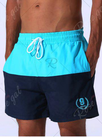 Outfit Color Block Panel Drawstring Embroidered Board Shorts - 2XL CLOUDY Mobile