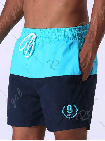 Hot Color Block Panel Drawstring Embroidered Board Shorts - L CLOUDY Mobile