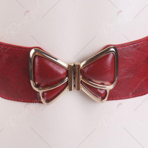 Best Butterfly Buckle Faux Leather Splicing Belt - RED  Mobile