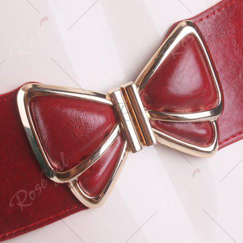 Shops Butterfly Buckle Faux Leather Splicing Belt - RED  Mobile