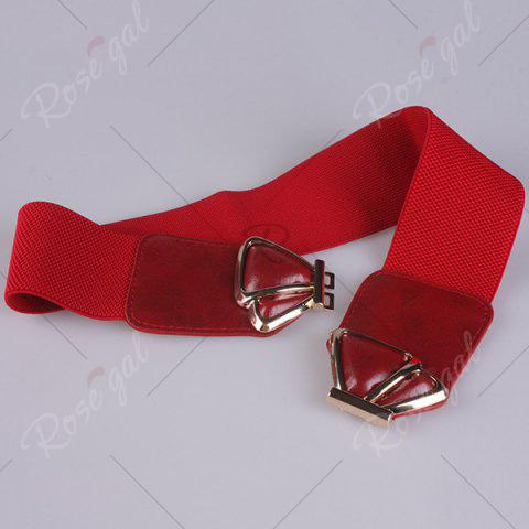 Affordable Butterfly Buckle Faux Leather Splicing Belt - RED  Mobile