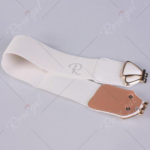 Affordable Butterfly Buckle Faux Leather Splicing Belt - WHITE  Mobile