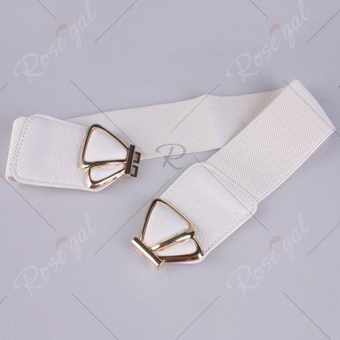 Shops Butterfly Buckle Faux Leather Splicing Belt - WHITE  Mobile