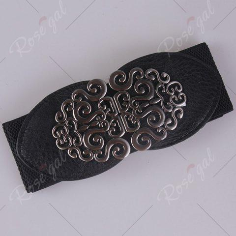 Hot Elastic Retro Hollow Out Metallic Buckle Belt - BLACK  Mobile