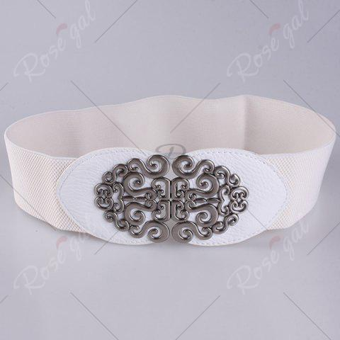 Online Elastic Retro Hollow Out Metallic Buckle Belt - WHITE  Mobile