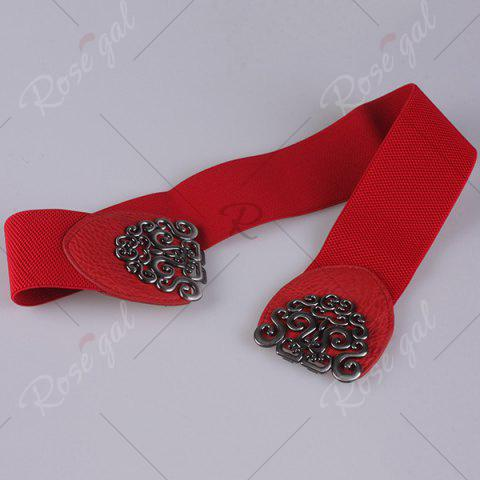Affordable Elastic Retro Hollow Out Metallic Buckle Belt - RED  Mobile