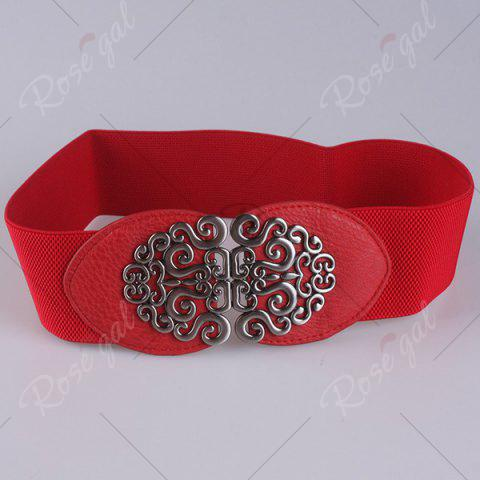 Discount Elastic Retro Hollow Out Metallic Buckle Belt - RED  Mobile