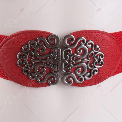 Fancy Elastic Retro Hollow Out Metallic Buckle Belt - RED  Mobile