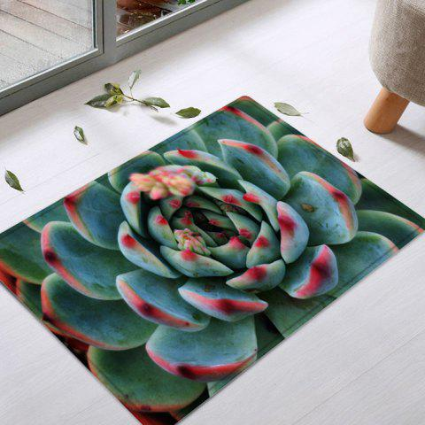 Succulents Pattern Anti-skid Water Absorption Area Rug - Green - W16 Inch * L24 Inch