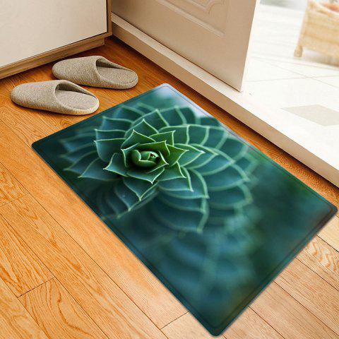 Succulents Plant Pattern Anti-skid Water Absorption Area Rug - Green - W16 Inch * L24 Inch