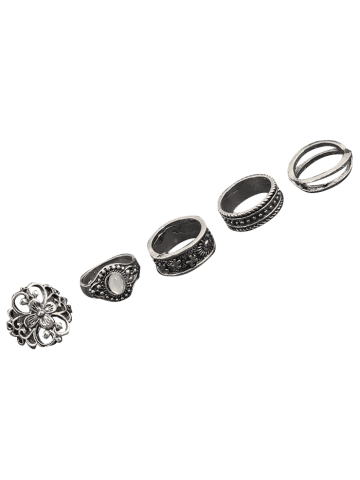 Outfit Engraved Faux Gem Flower Ring Set - SILVER  Mobile